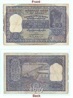 100 Rupees Indian banknote Hirakud Dam On Back Old Indian paper Money G5-25 US