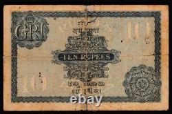 1917 British India 10 Rupees King George V P-7b Jb Taylor Banknote Vg Rare