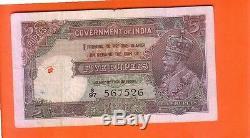 1921/29 British India KG V 5 Rupees note