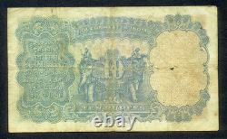 1928 British India 10 Rupees King George V P-16b Sig. J W Kelly F/vf Rare Note