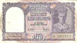 1943 India 10 Rupees K. George VI (s9)