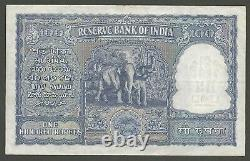 1949-1957 INDIA 100 RUPEES P-42a RESERVE BANK BANKNOTE HIGH GRADE VF/+ SIGN. RAU