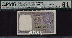 1957 India 1 Rupees Set Of 3 Sequential Notes Pmg 64 S/n N/53 872045,046,047
