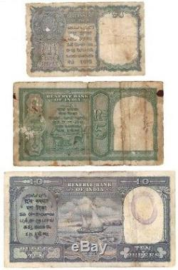 1, 5 & 10 Rs India OVPT Government of Pakistan Rare Notes
