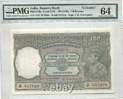 BRITISH INDIA 1943 100 RUPEES PICK 20e CALCUTTA PMG 64
