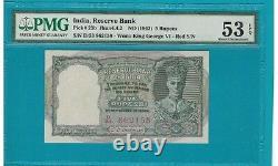 BRITISH INDIA 5 Rs Kgvi Pick 23 B PMG 53 Au/uncirculated Red Serial