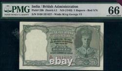 BRITISH INDIA 5 Rs Kgvi Pick 23 B PMG 66 /uncirculated Red Serial