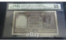BRITISH INDIA /PAKISTAN 10 Rs KgvI PCGS 50 PICK 3 OVER PRINT AU 55