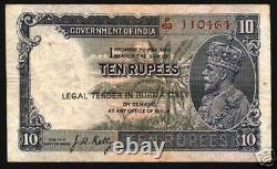 BURMA 10 RUPEES P2 B 1937 KING GEORGE V ELEPHANT India Burmese Myanmar BANK NOTE