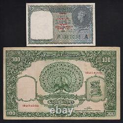 BURMA P-30, P-45. 1940 1 Rupee Red o/print (aU-U) & 1953 100 Kyats (aVF)