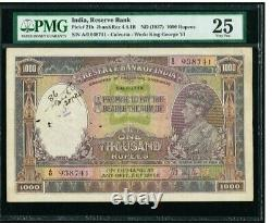 British India 1000 Rupees Calcutta ND 1937 King George VI Portrait PMG VF 25