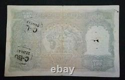 British India 100 RUPEES KGVI 1943 LARGE NOTE C. D. Deshmukh Calcutta