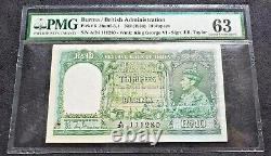 British India 10 Rs Burma KGVI 1938 J. B. Taylor Green Note PMG 63