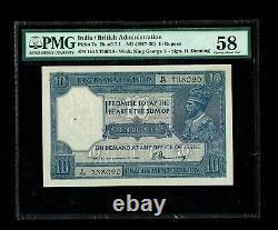 British India 10 Rs, Denning, KGV 1917 PICK#7a PMG-58