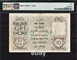 British India 10 Rupees (1917-30) Sign Denning Pick-6 Extremely Fine PMG 40