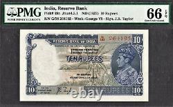 British India 10 Rupees ND (1937) KGVI Pick-19a GEM UNC PMG 66 EPQ