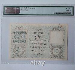 British India 10 rupees picks 6 ND (1917) PMG VF 35 grading