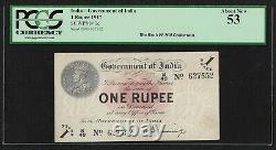 British India, 1917, 1 Rupee, PCGS About UNC 53, H. Denning Sign Note, Pick 1c