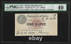 British India, 1917, 1 Rupee, PMG Extra Fine 40, H. Denning Sign Note, Pick 1c