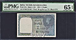 British India 1940 One Rupee Black Serial Pick-25a NO STAPLE GEM UNC PMG 65 EPQ