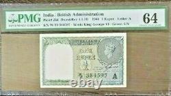 British India 1 Re- KGVI 1940 C. E. Jones W prefix A Inset PMG 64
