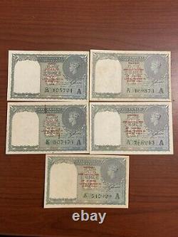 British India 1 Rs KG VI 1940 Burma Military Administration 5 Notes Lot AU Cond