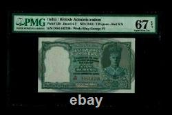 British India 5 Rs, C D Deshmukh 1943 PICK#23b Superb Gem 67