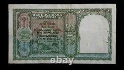 British India 5 Rupee Banknote ND (1943) P23A C D Deshmukh signature scarce