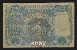 British India BURMA, 1939 100 Rupees, JB Taylor Sign, KGVI Pick #6, Peacock Note