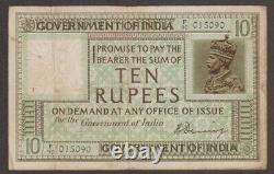 British India Banknote 10 Rupee Pick # 6 1917- XF King George V KGV