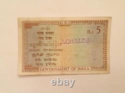 - British India Five 5 Rupees George V 1917 1930 P 4b J. B. Taylor