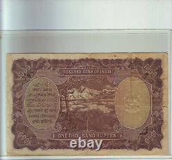British India KG VI Rs 1000 karachi, ex rare + vignette pcgs curr 66