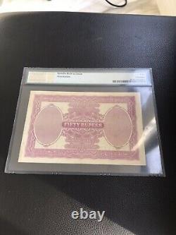 British India King George V 50 Rs Rupees BOMBAY 1928 PICK 9 B PMG 40 (Xf)