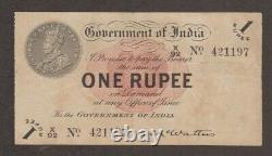 British India King George V Banknote 1 Rupee 1917 KGV P 1 A C McWatters