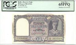 British India Pick 24 1943 10 Rupees King George VI Pcgs 65 Ppq
