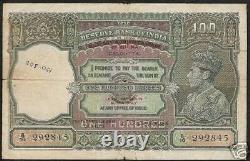 Burma British India 100 Rupees P29 1945 Tiger GB Uk King George VI Rare Banknote
