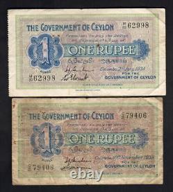 Ceylon. 1 Rupees P-16b 1934 (VF) & P-16c 1938 (Fine). 2 Notes