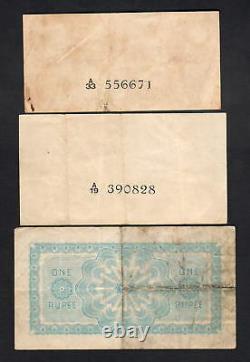 Ceylon P-16b, 44a, 45a. 1939 1 Rupee (Fine). 1942 25c(VF) & 50c(aVF) 3 Notes