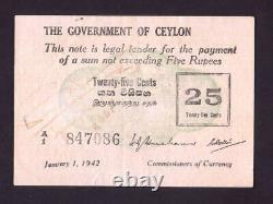 Ceylon P-40. 1942 25 Cents. GVF