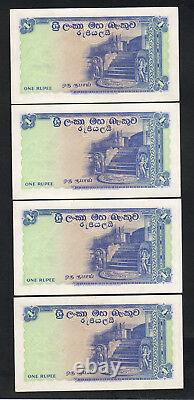 Ceylon P-56b. 1958 One Rupee. CONSECUTIVE Run of 4 Notes. UNC