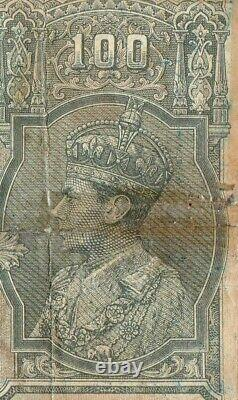 Extreme Rare 100 Rupees British India Kanpur 1944 signed C. D. Deshmukh G5-32 US