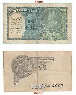 Extreme Rare 1940 J. W. Kelly One Rupee Note British india George V Note G5-52