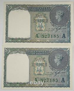 Four (4) British India 1940 (ND) 1 Rupee Pick #25d Crisp UNC Consecutive Numbers