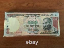 Full Bundle INDIA 1000 (1,000) Rupees x 100 Pcs Bundle, 2016 P-100 Gandhi Unc