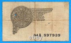 Government of India 1935 1 One Rupee Note P-14a Circulated (two holes)