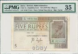 Government of India India 5 Rupees ND(1917-30) PMG 35