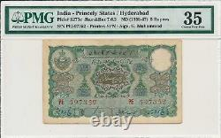 Hyderabad India- Princely States 5 Rupees ND(1938-47) PMG 35