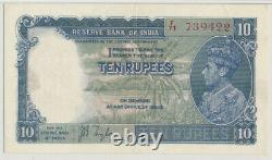 INDIA 10 RUPEES ND (1937) PICK# 19a F/71 739422 PMG 45 CHOICE EXTRA FINE EPQ