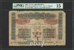 INDIA 10 Rupees 1918, Government, Calcutta Gubbay, P-A10g, PMG 15 Choice Fine