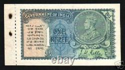 INDIA 1 RUPEE P-14 B 1935 Witho PORTRAIT watermark UNC King George V BOOKLET NOTE